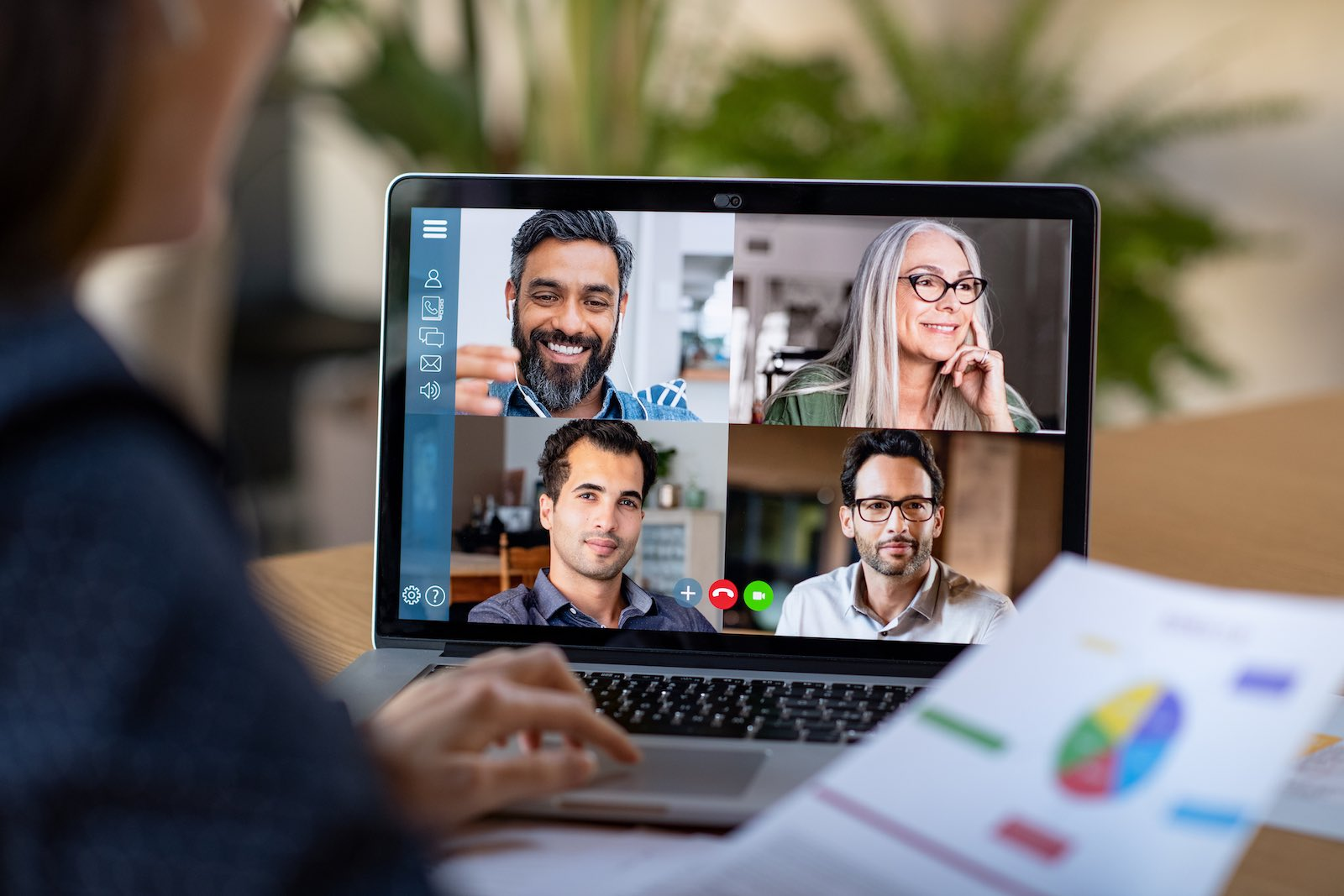 four people on a video conference
