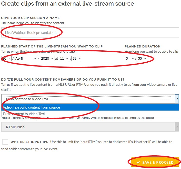 Creating clips from external live streams